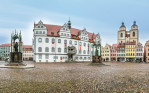 Wittenberg, Germany - March 25, 2016: The Main Square of Luther City Wittenberg in Germany. Wittenberg is UNESCO World Heritage Site.