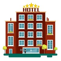 Vector Flat Design Hotel Illustration Isolated on White Background. Hotels.